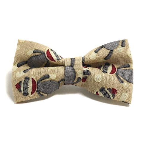 Sock Monkey Dog Bow Tie