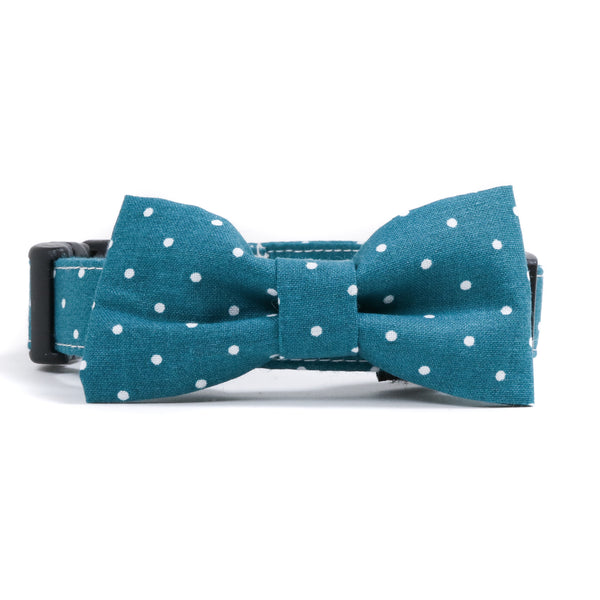 Teal and White Polka Dots Dog Collar and Bow Tie Set