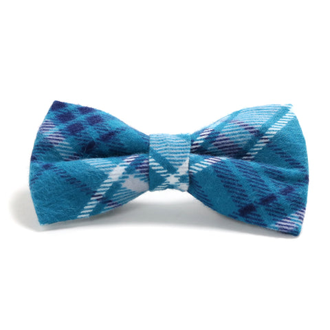Teal, Navy Blue and White Plaid Dog Bow Tie
