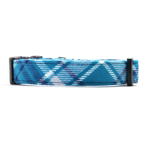 Teal, Navy Blue and White Plaid Dog Collar