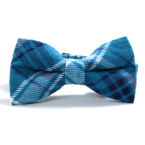 Teal, Navy Blue and White Plaid Dog Collar and Bow Tie Set