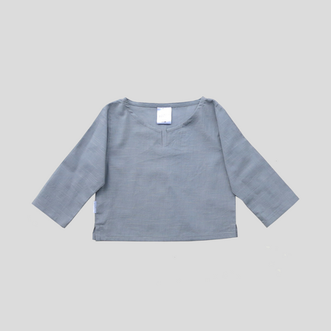 Beach Shirt - Dusty Blue Slub Cotton