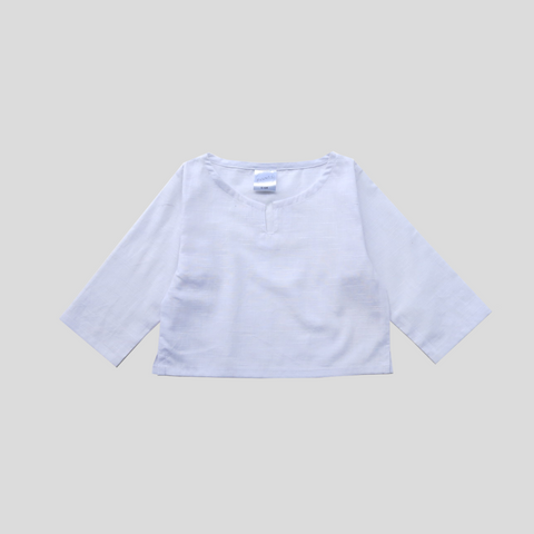 Beach Shirt - White Slub Cotton