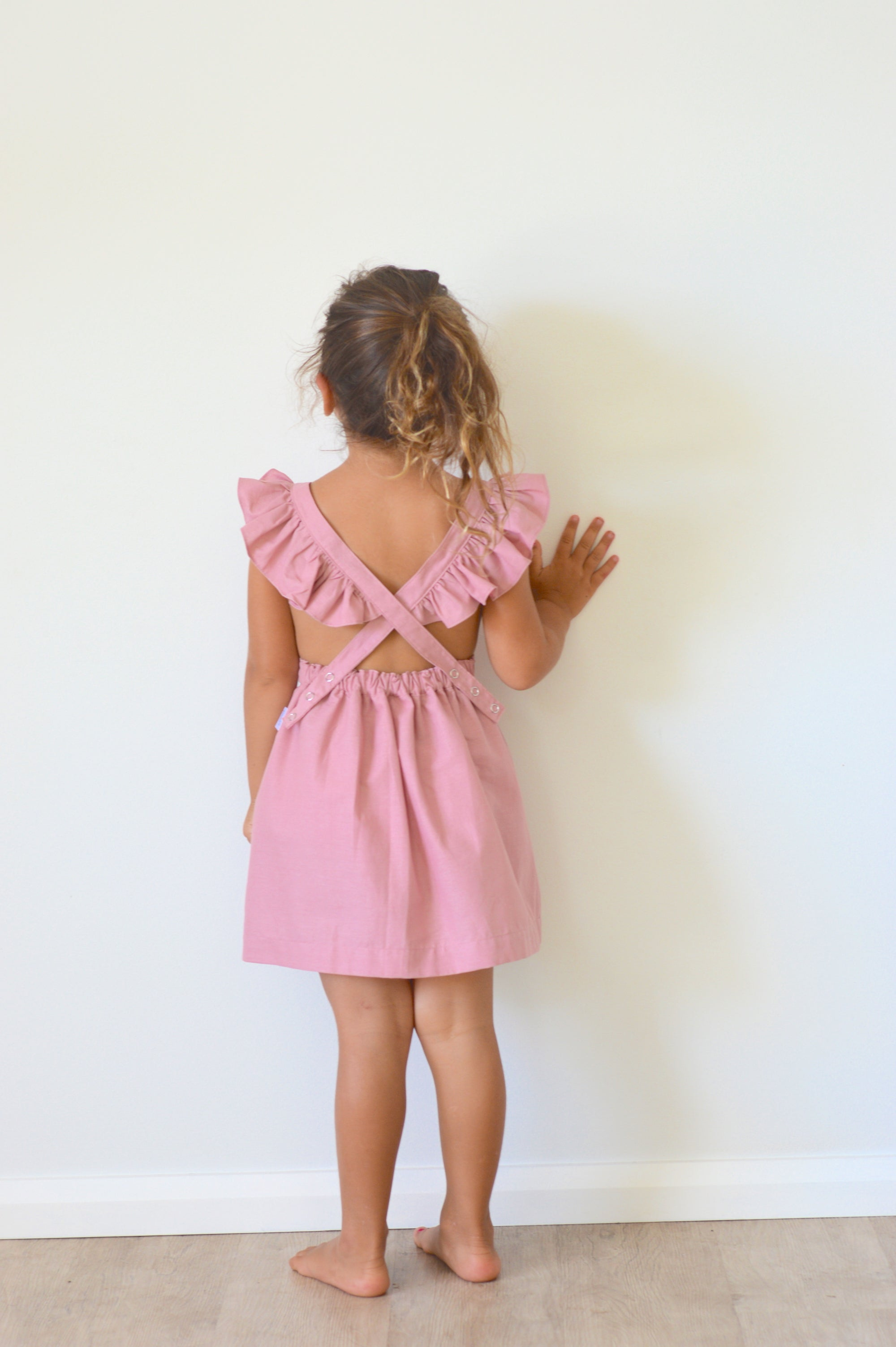 Periwinkle Pinafore - Dusty Rose with Ruffles
