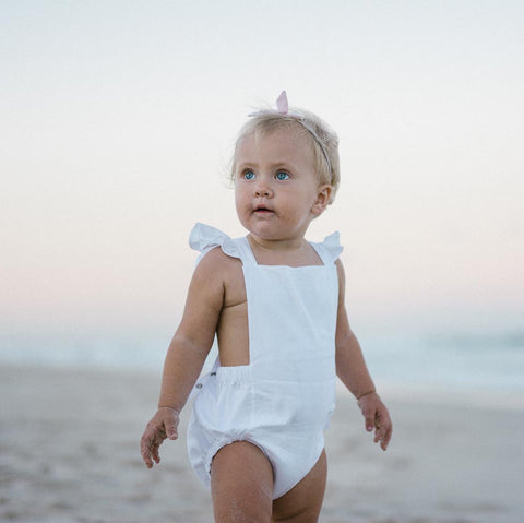 Signature Dune Romper - White with Ruffles