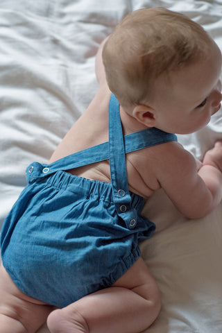 Signature Dune Romper - Mid Blue Denim