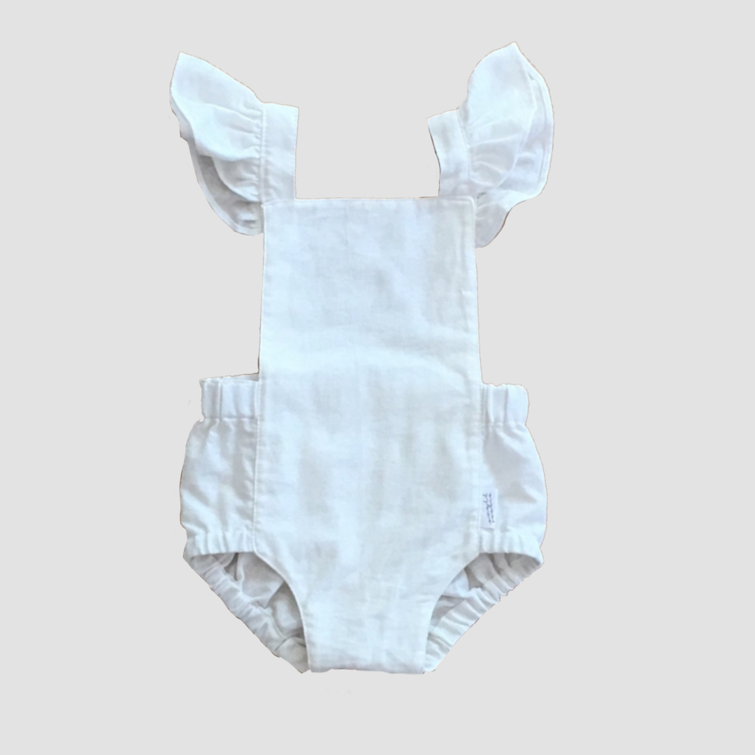 Signature Dune Romper - Milk with Ruffles