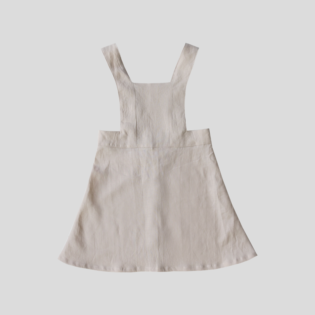 Sailor Pinafore Dress - Sand Linen