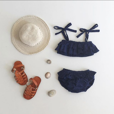Periscope Bikini - Navy Cotton Seersucker