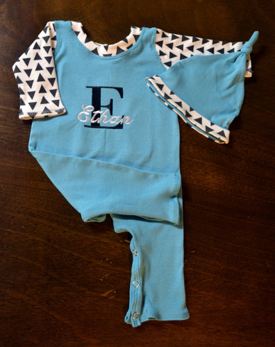 Blue with White and Black Triangles Coverall and Matching Hat Baby Outfit, Custom Made, Personalized