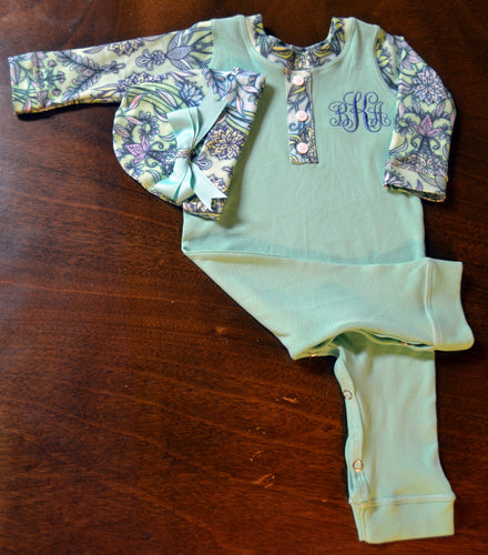 Mint Green and Floral Coverall and Hat Outfit Baby Girl, Custom Made, Personalized