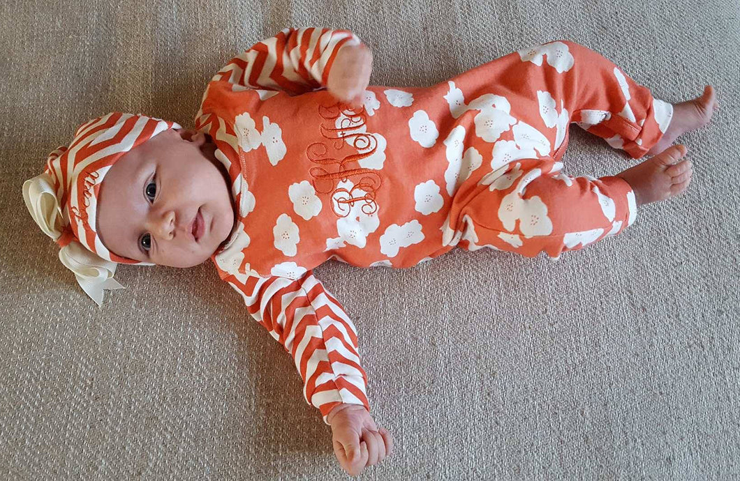 Coral and Cream Coverall and Hat Outfit Baby Girl, Custom Made, Personalized