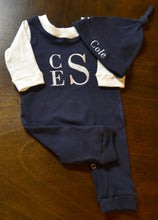 Navy Blue/Ivory Coverall and Matching Hat Baby Boy, Custom Made, Personalized