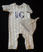 Grey and Ivory Arrows Coverall and Matching Hat Baby Outfit, Custom Made, Personalized