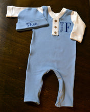 Blue and White Coverall and Matching Hat Baby Outfit, Custom Made, Personalized