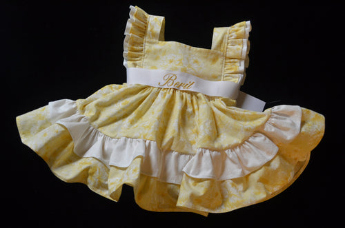 Yellow and White Boutique Baby Dress,  Custom Made, Personalized