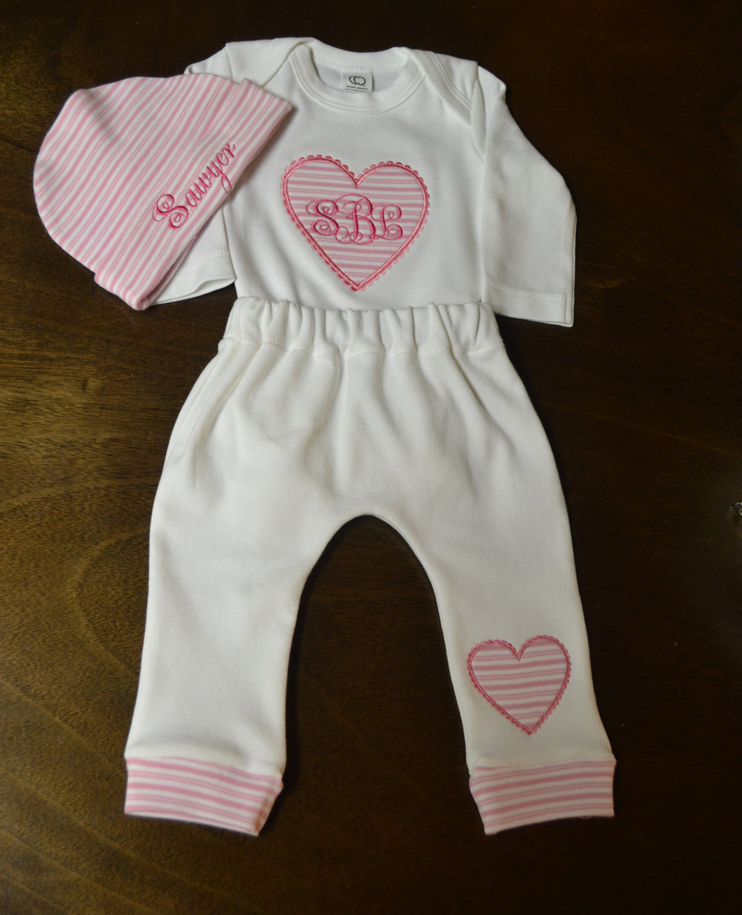 White and Pink Heart Baby Outfit, Custom Made, Personalized
