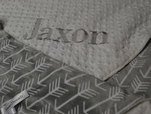 Grey and White Arrow Minky Baby Blanket, Personalized