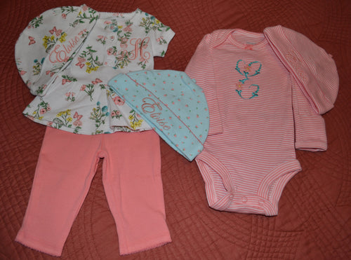 Newborn Cotton 6 Piece Set Baby Girl, Personalized Baby Girl Going Home Outfit, Baby Girl Clothes, Baby Girl Coming Home Outfit, Baby Girl Outfits, Baby Girl Gift