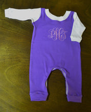 Purple and Ivory Coverall and Hat Outfit Baby Girl, Custom Made, Personalized