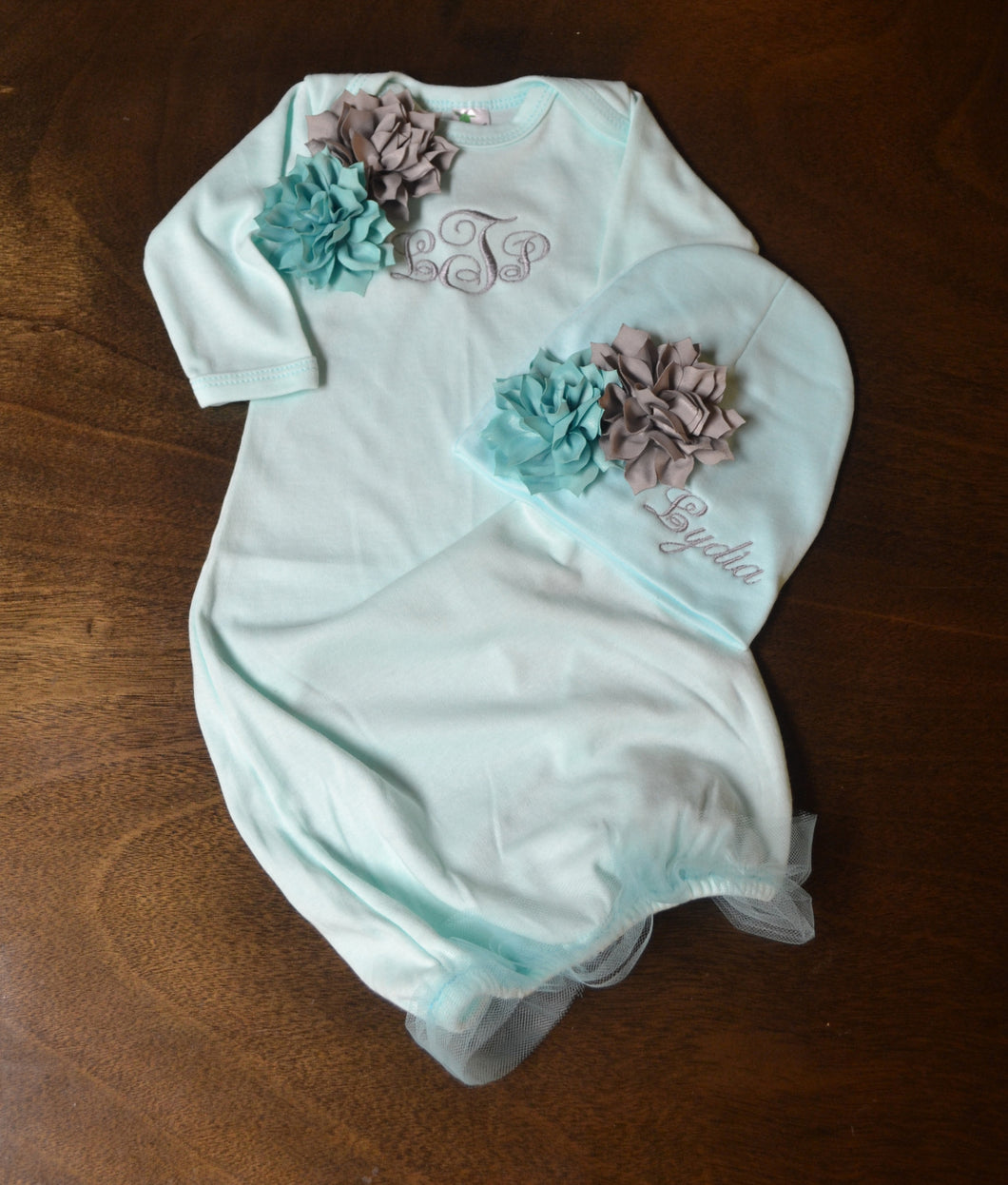 Mint Green Fancy Baby Gown and Hat Baby Girl, Personalized