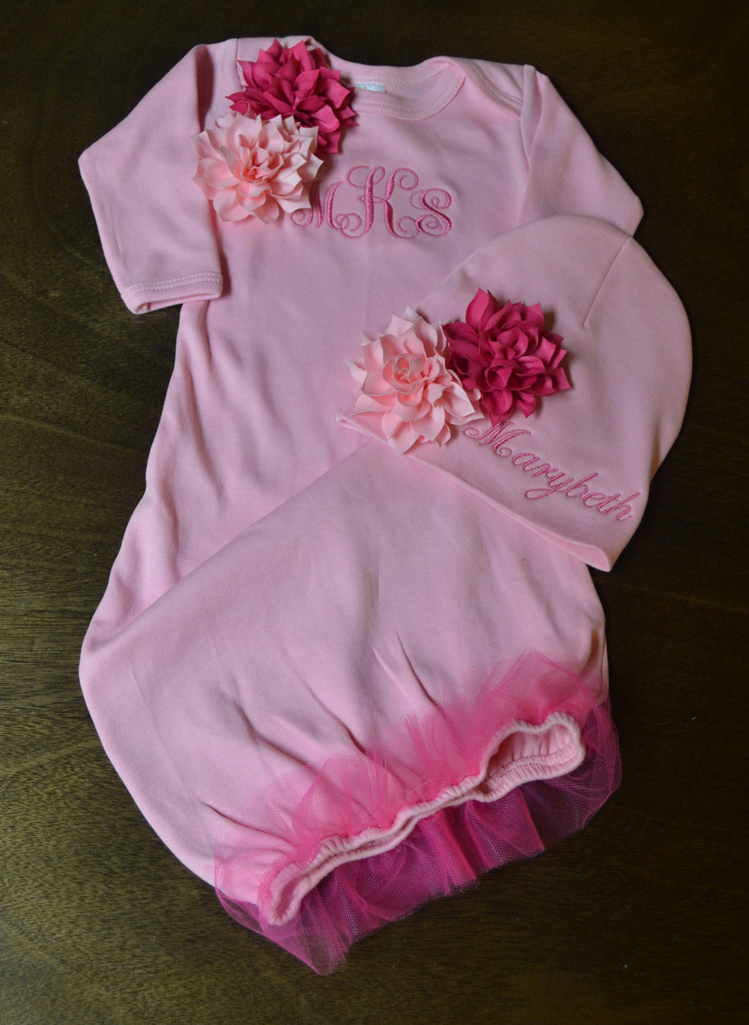 Pink Fancy Baby Gown and Hat Baby Girl, Personalized