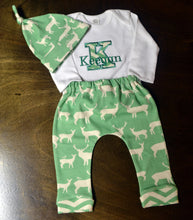 Green and White Deer Outfit Baby Boy, Custom Made, Personalized