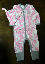 Pink, Grey and White Coverall and Hat Outfit Baby Girl, Personalized