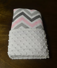 Pink, Grey, and White Chevron Minky Baby Blanket, Personalized