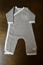 Grey and White Kimono Coverall with Navy Hat Baby Boy, Personalized