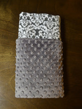 Grey and White Minky Baby Blanket, Personalized