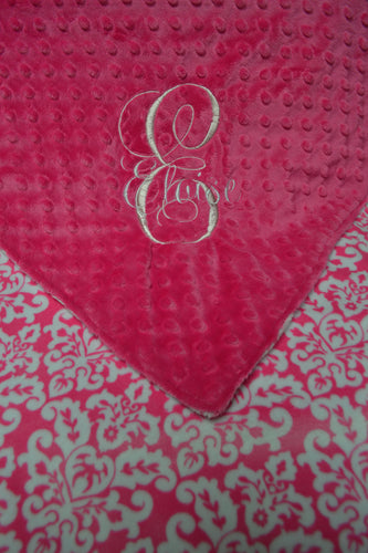 Pink and White Minky Baby Blanket, Personalized