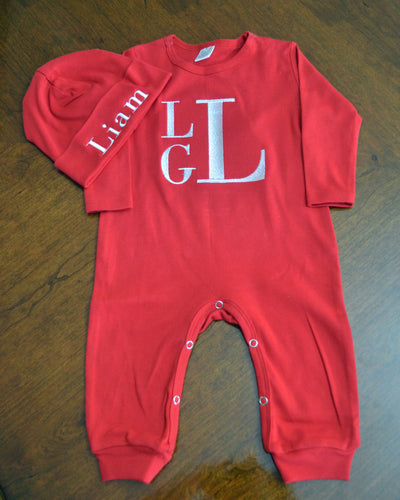 Red Coverall and Matching Hat Outfit Baby, Personalized