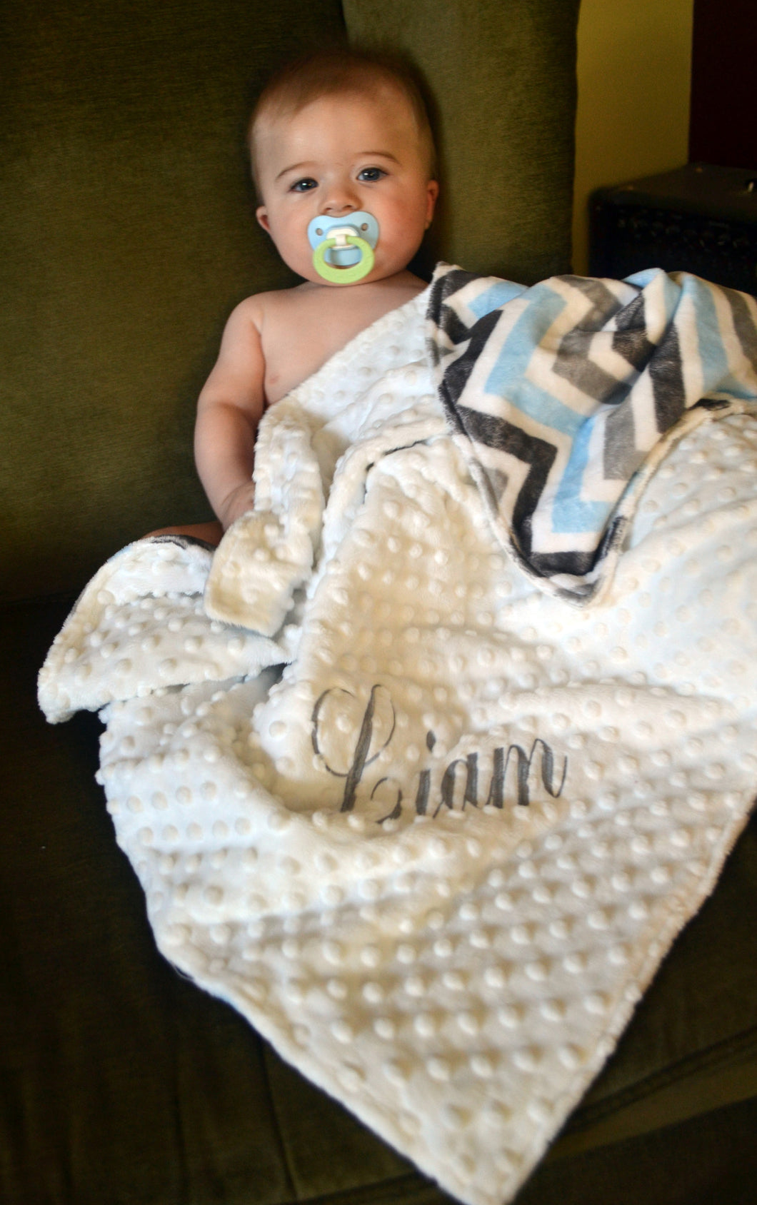 Blue, Grey and White Minky Baby Blanket, Personalized