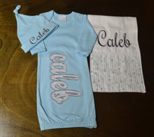 Light Blue Baby Gown, Hat and Burp Cloth, Personalized