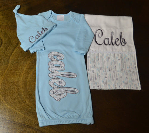 Baby Blue Gown, Hat and Burp Cloth, Personalized Baby Boy Outfit, Baby Boy Clothes, Baby Boy Coming Home Outfit, Baby Boy Gift, Baby Boy Outfits