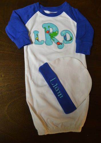 Baby Boy Gown and Hat, Personalized Baby Boy Going Home Outfit, Baby Boy Clothes, Baby Boy Coming Home Outfit, Baby Boy Outfits, Baby Boy Gift