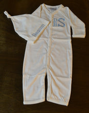 White Convertible Gown/Coverall and Hat Set, Personalized