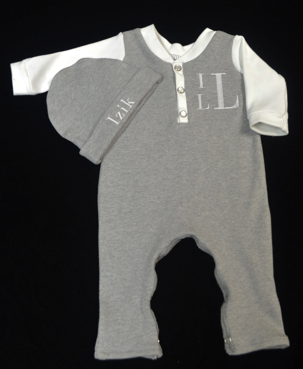 Grey and White Henley Coverall and Matching Hat Baby Outfit, Custom Made, Personalized
