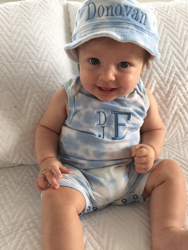 Blue and White Tie Dye Shortall and Bucket Hat Set Baby Boy, Personalized
