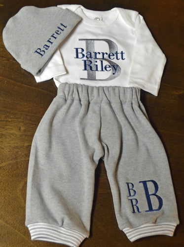 Grey Sweatpants, Grey Knit Hat and White Shirt Baby Boy Outfit, Personalized Newborn Baby Boy Clothes, Baby Boy Coming Home Outfit, Baby Boy Gift, Baby Boy Outfits, baby boy clothes