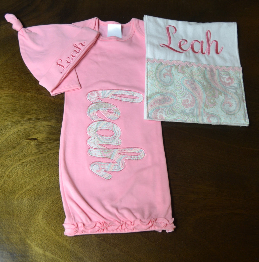Pink Gown, Hat and Burp Cloth Baby Girl, Personalized