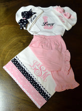 Pink and White Outfit Baby Girl, Personalized
