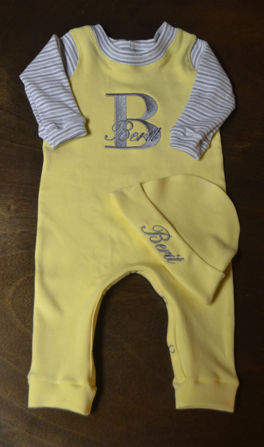 Yellow, Grey and White Coverall and Hat Outfit, Custom Made, Personalized