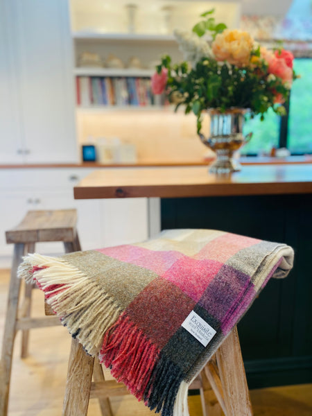 Harlequin, Heather 100% Shetland, Wool Throw.