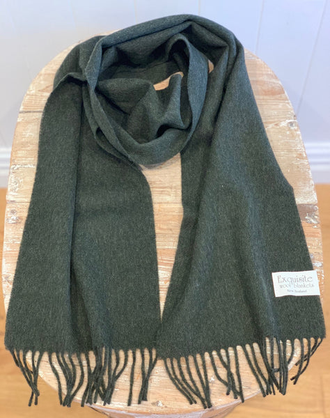 Plain Scarf 100% Merino Wool.  Moss Green