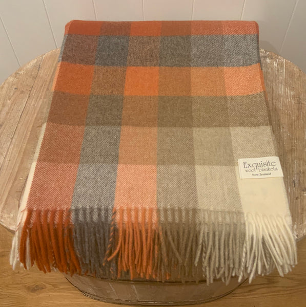 Rome, Saffron 100% Merino Wool Throw.