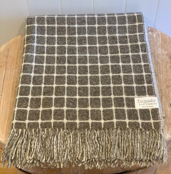 Athens Slate, reversible, 100% Merino Wool Throw.