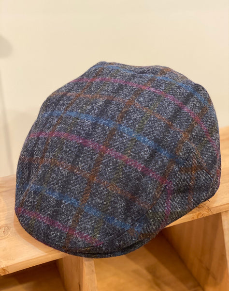 Yorkshire Tweed Flat Cap, Multi Check Navy, Large.