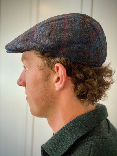 Yorkshire Tweed Flat Cap, Multi Check Navy, Medium